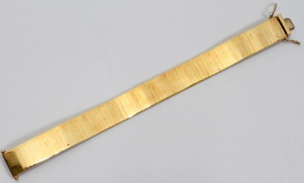 "080024: ITALIAN 14 KT YELLOW GOLD BRACELET, L 7 1/4"""