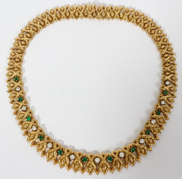 080028: FRENCH 18 KT. GOLD, DIAMOND, & EMERALD NECKLACE