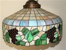080083 LEADED SLAG GLASS HANGING LAMP SHADE H 18