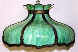 080089: LEADED SLAG GLASS & METAL HANGING LAMP SHADE,