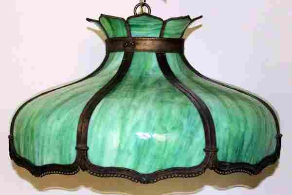LEADED SLAG GLASS & METAL HANGING LAMP SHADE,