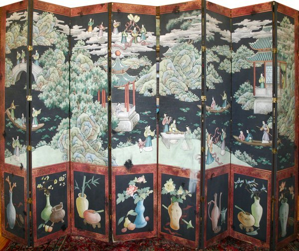 """080252: CHINESE HAND PAINTED EIGHT PANEL SCREEN, H 92"""""""