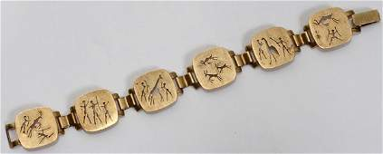 080395 SOUTH AFRICAN 8 KT YELLOW GOLD BRACELET L 7