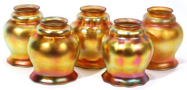 081005: STEUBEN GOLD AURENE GLASS SHADES, EARLY 20TH C.
