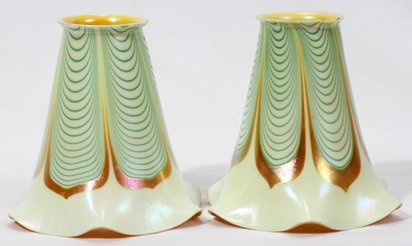 081006: STEUBEN AURENE GLASS SHADES, EARLY 20TH C.