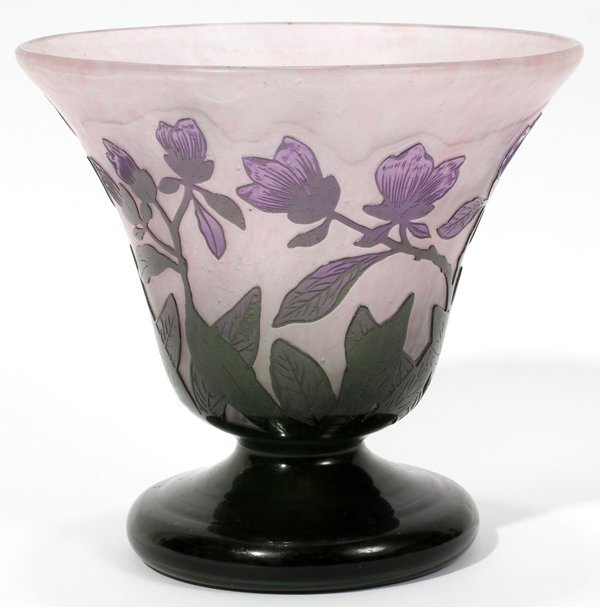"""081010: FRENCH CAMEO GLASS VASE, C. 1900, H 4"""""""