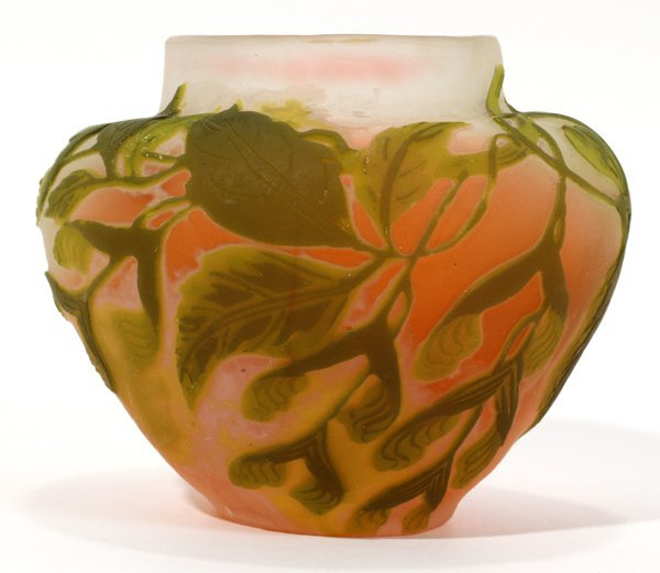 """081013: GALLE CAMEO GLASS BUD VASE, C. 1925, H 2 1/2"""""""