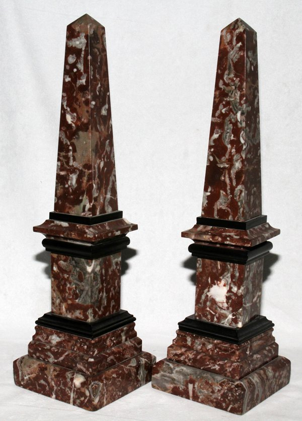 081016: FRENCH MARBLE OBELISKS, 19TH C., PAIR