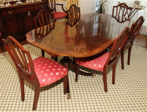 081019 Baker Furniture Co Mahogany Dining Table