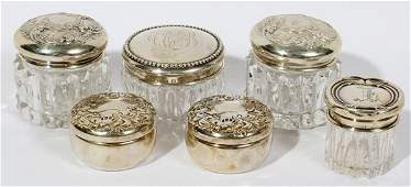 081076 AMER STERLING SILVER  CUT GLASS DRESSER JARS