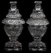 081080: WATERFORD CRYSTAL COVERED COMPOTES, 19TH C.