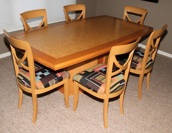 081091 EXCELSIOR DESIGNS BURL MAPLE DINING TABLE
