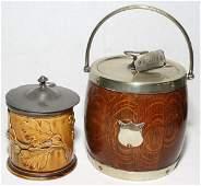 081161: ENGLISH MAJOLICA & OAK WITH PEWTER JARS
