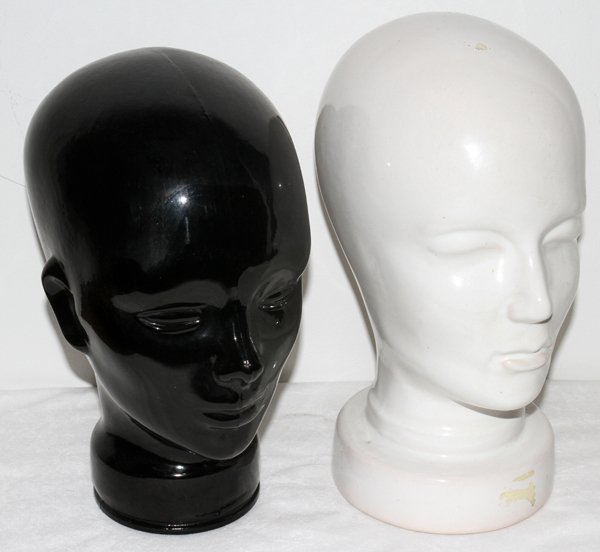 081357: GLASS & PORCELAIN MANNEQUIN HEADS/STANDS, TWO