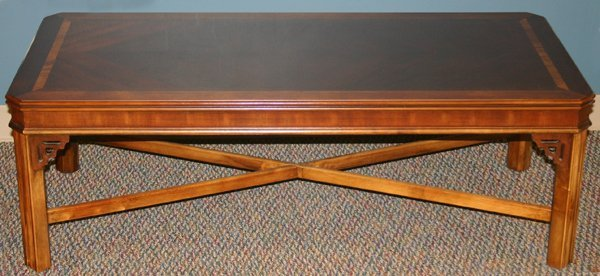 081428: LANE CHIPPENDALE STYLE MAHOGANY COFFEE TABLE