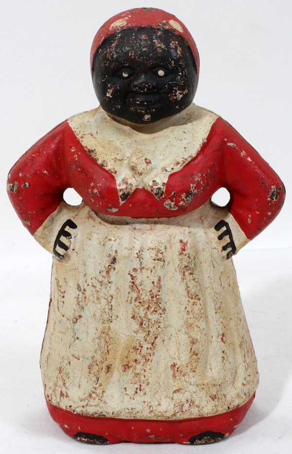 081462: CAST IRON AUNT JEMIMA BANK, C. 1900, H 7.6""