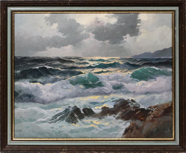 082014: ALEXANDER DZIGURSKI 1911-1995, OIL ON CANVAS,