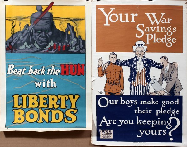 090015: WWI LIBERTY BONDS & SAVING STAMP POSTERS, TWO,