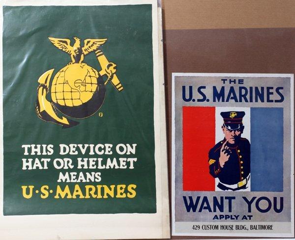"090017: WWI U.S. MARINES RECRUITING POSTERS, THREE, 36"""