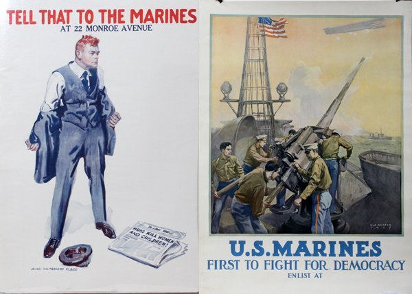 090018: WWI U.S. MARINES RECRUITING POSTERS, TWO,