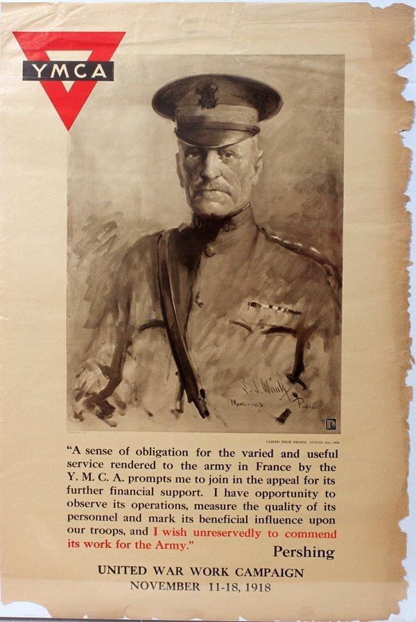 """090019: WWI YMCA GENERAL PERSHING POSTER, C. 1918, 30"""""""
