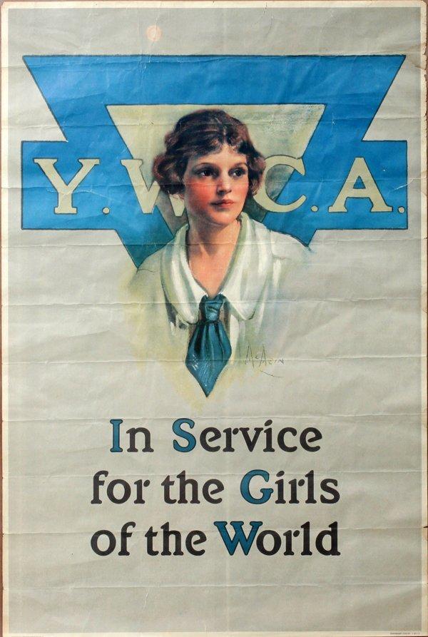 "090020: POST WWI YWCA RECRUITMENT POSTER, 1919, 30"" X"
