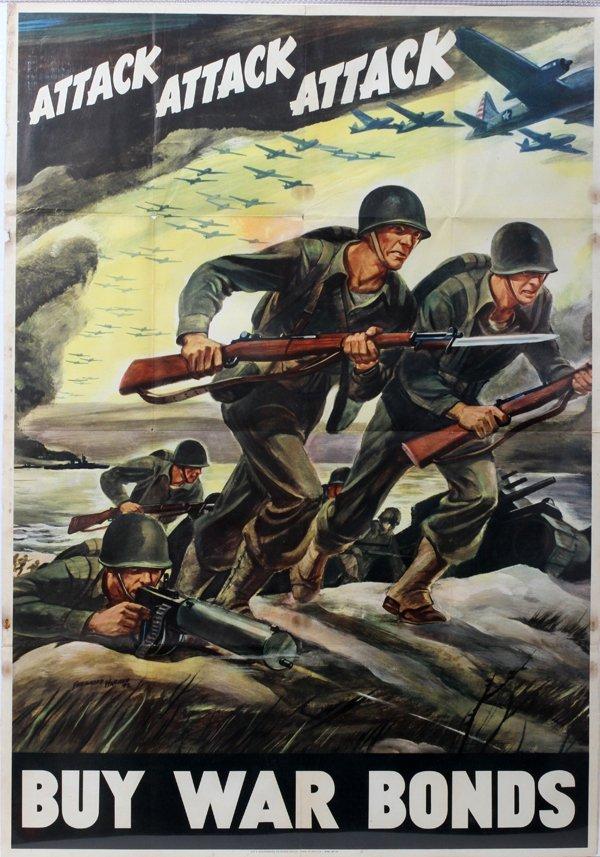 "090023: WWII WAR BOND POSTER, C. 1942, 40"" X 28"","