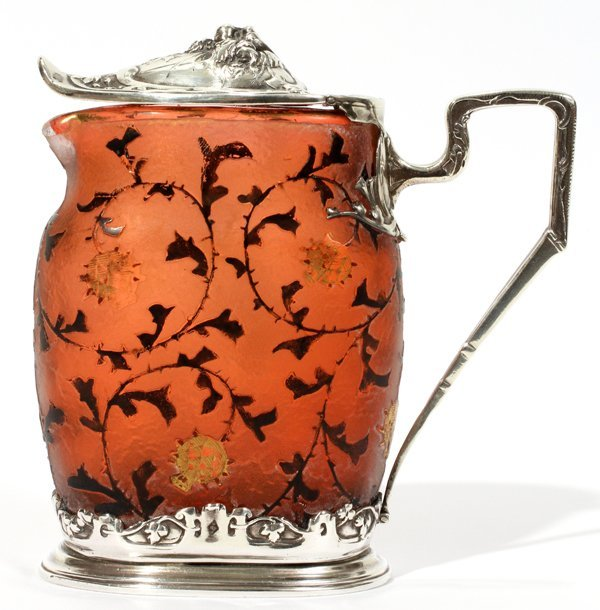 091001: DAUM CARVED CAMEO GLASS & SILVER SYRUP PITCHER