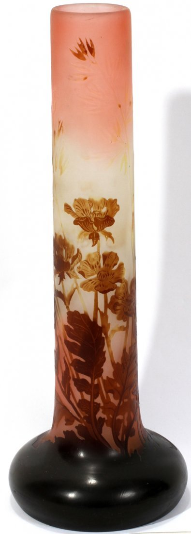 """091002: GALLE CARVED CAMEO GLASS VASE, C. 1900, H 13.5"""""""