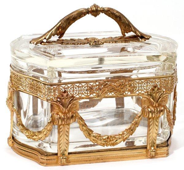 091005: FRENCH GILT BRONZE, METAL & CRYSTAL BOX,