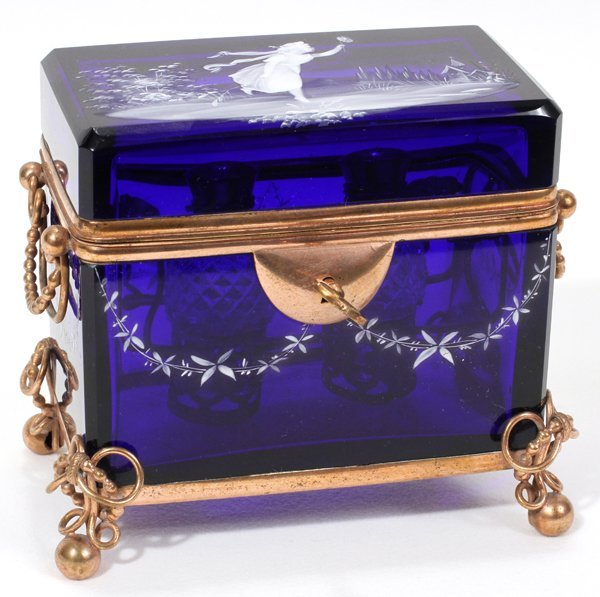 091007: MARY GREGORY GLASS SCENT BOX W/BOTTLES & MOUNTS