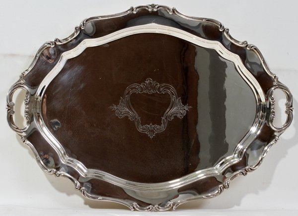 """091015: REED & BARTON STERLING TRAY, W 17"""", L 24"""""""