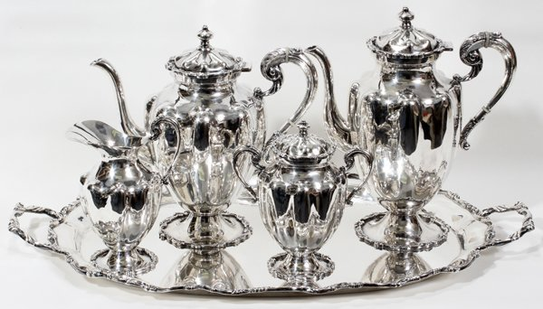 091016: MEXICAN STERLING TEA & COFFEE SERVICE W/TRAY