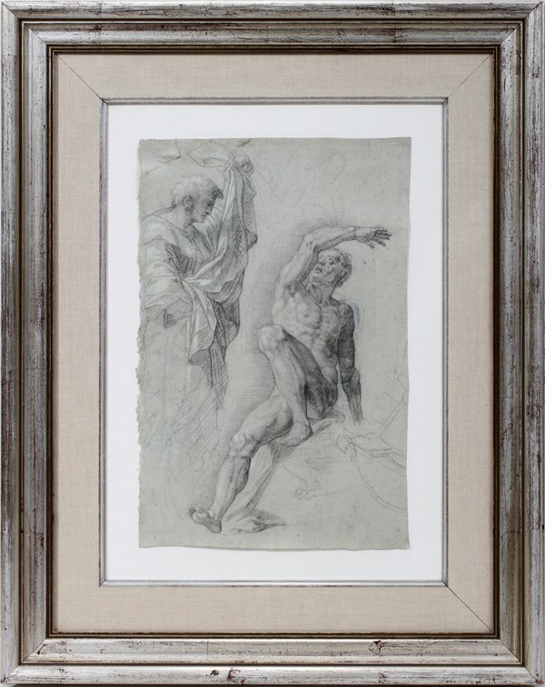 092010: OLD MASTER PENCIL DRAWING HIGHLIGHTED
