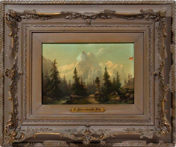 092014: ALBERT BIERSTADT (1830-1902), OIL ON BOARD,