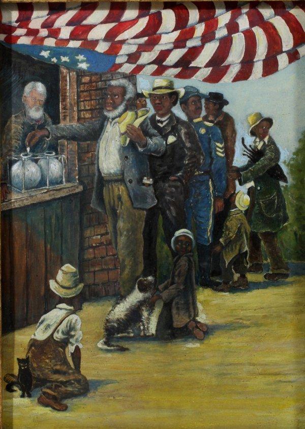 092022: AFRICAN AMERICAN, OIL ON BOARD, 20TH C.