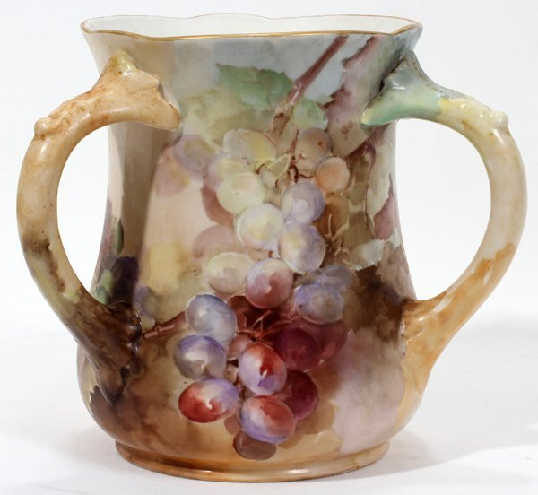 100002: FRANZ A. BISCHOFF PAINTED PORCELAIN LOVING CUP