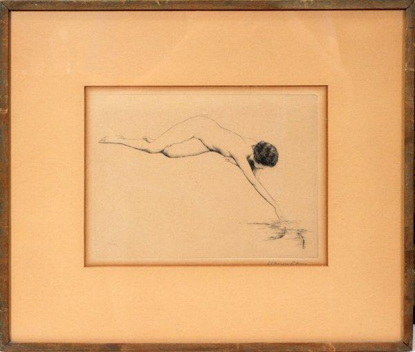 "100010: WARREN B. DAVIS ETCHING, 6"" X 8"" 'THE FISHES'"
