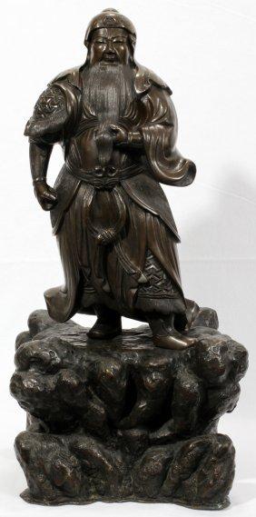 """100015: BRONZE SCULPTURE OF A JAPANESE SAMURAI, 22"""" H"""