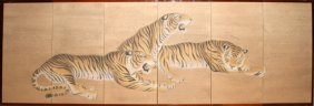 """100017: JAPANESE HAND PAINTED WALL SCREEN ON SILK, 34"""""""