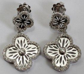 100022: 14KT WHITE GOLD & 1.10CT DIAMOND EARRINGS,