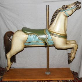 """100023: HAND CARVED WOOD CAROUSEL HORSE, C1940, H 49"""","""