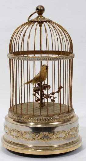 """100060: FRENCH SINGING BIRD IN CAGE, MUSIC BOX, H 11"""""""