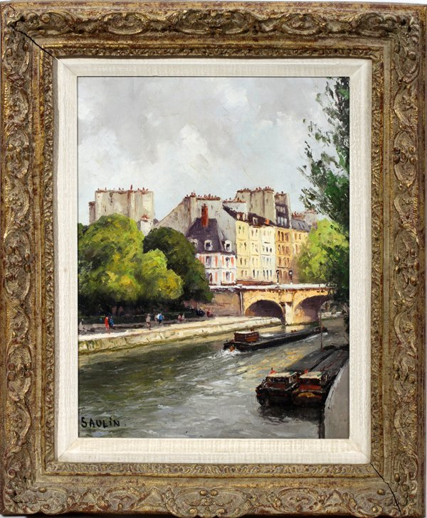 "100076: SAULIN, OIL PAINTING, 15"" X 11"", ""LE PONT-NEUF"""