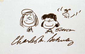 100385: CHARLES SCHULZ AUTOGRAPH & 'PEANUTS' CHARACTERS