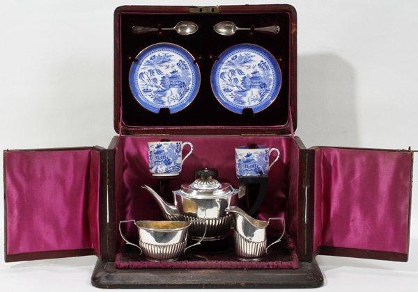 101005: VICTORIAN STERLING & SPODE TRAVELING TEA SET