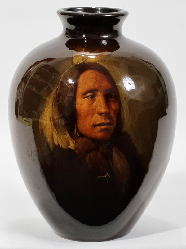 101008: ROOKWOOD 'LONE ELK-SIOUX INDIAN' POTTERY VASE,