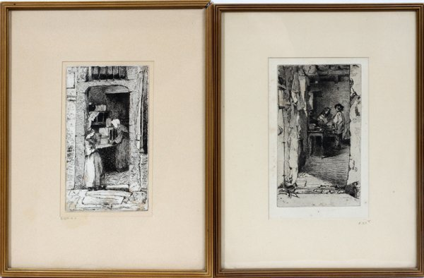 """101016: JAMES MCNEILL WHISTLER ETCHINGS, TWO, 6"""" X 3"""","""