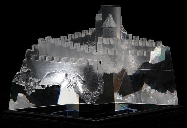 """101018: STEUBEN 'CASTLE OF DREAMS' GLASS SCULPTURE H 6"""""""