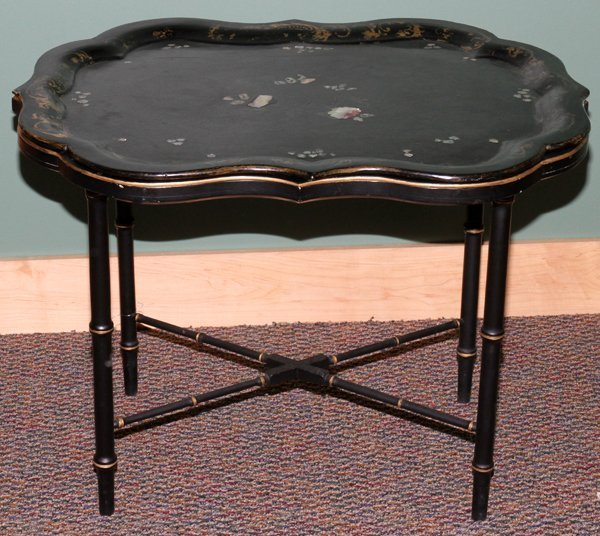 """101024: CHINESE INLAID PAPIER MACHE TRAY & TABLE, H 23"""""""